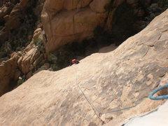 Rock Climbing Photo: Following pitch 4.  Photo by Todd K.
