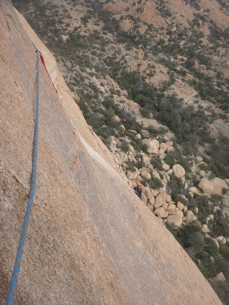 Rock Climbing Photo: Looking back to anchor 2 from the pitch 3 traverse...