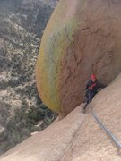 Rock Climbing Photo: Todd about to finish up the last of pitch 3.