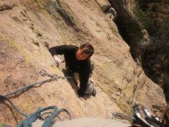 Rock Climbing Photo: Finishing up Whatchamacallit.  Photo by Todd K.