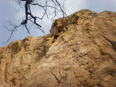 Rock Climbing Photo: Leading Kit Kat (5.7+) on Sweet Rock.  Photo by To...