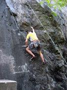 Rock Climbing Photo: Frank cleans draws off Black Stripe. I'm Liche...