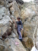 Rock Climbing Photo: Anna warms up on Rain Check Direct. Balls Deep&#39...