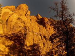 Rock Climbing Photo: Debutante(5.5) is Blue. Presidente(5.10a) is Blue-...
