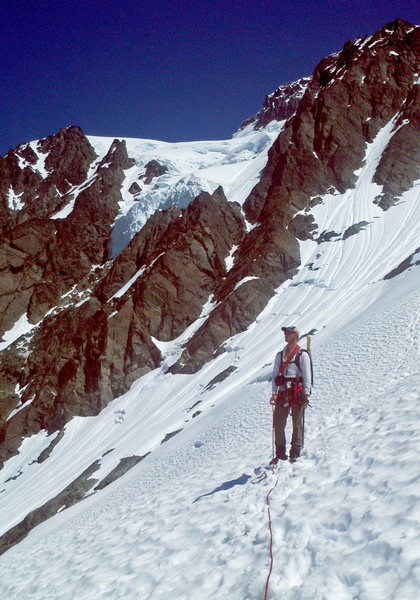 Scotty descending the White Salmon Glacier route after climbing the Price Glacier, July 5, 2011
