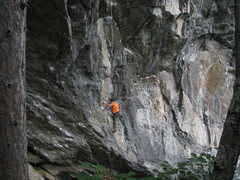 Rock Climbing Photo: Climber on the shared start of Flying Monkeys, Dyn...