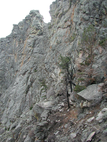 Below the east face of Spit Rock after the small 2001 fire.