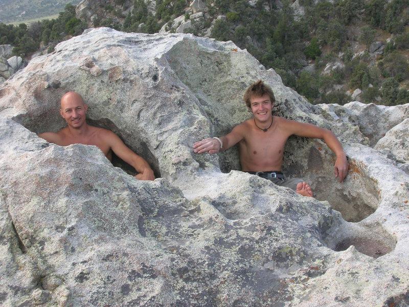 Rock Climbing Photo: Mark and Stephan chillin on top of Bracksiek's Pil...