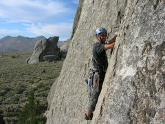 Rock Climbing Photo: Dustin on Columbian Crack, with The Gallstone in t...