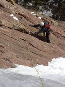Rock Climbing Photo: Smearing in crampons on pitch one.