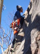 Rock Climbing Photo: Leading up Eat Yourself A Pie 5.8+ at Barkeater in...