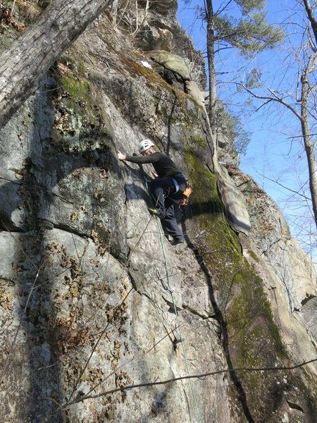 Rock Climbing Photo: Dave Trumper up high on Bonnie and Clyde...