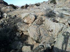 Rock Climbing Photo: Reba Boulders with Pottery Boulder where the shado...