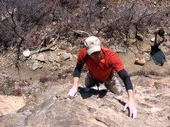 Rock Climbing Photo: Craig up high on First Blood.