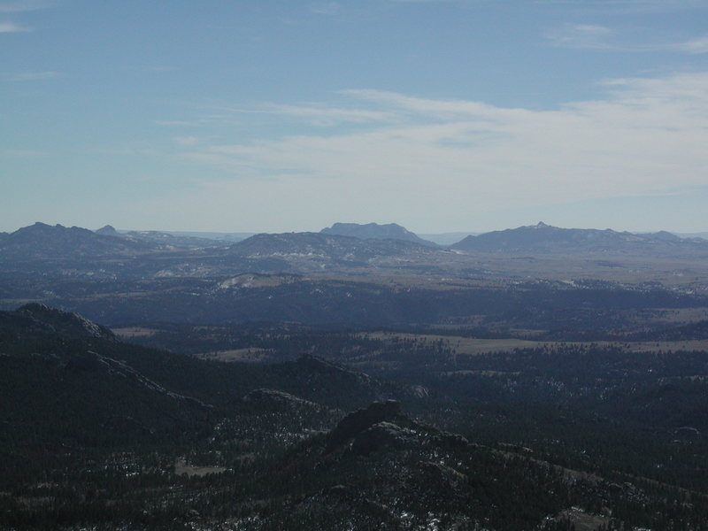 Btitannia Peak,Collins Peak, Reese Mtn & Split Rock.  The latter 3 are in the farther background.  The central foreground is Sellers Mtn.  Picture taken from South Mountain summit.