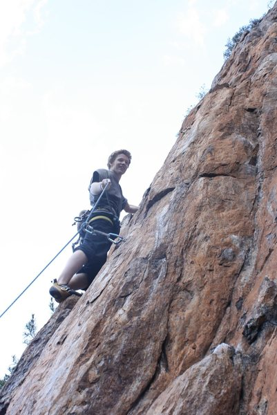 Rock Climbing Photo: Red Wall  Tobias Steiger leads Opinionated (5.9+) ...