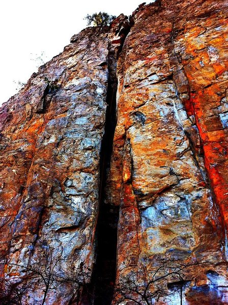 Red Wall<br> <br> Caterpillar (5.7) trad<br> <br> Crowders Mountain State Park, North Carolina