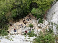 Rock Climbing Photo: Looking down at the base area at Settore della Tor...