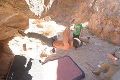 Rock Climbing Photo: Lester Banh moving to the jugs on Monkey Hang.