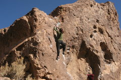 Rock Climbing Photo: Warming up on the Corner route, near the top.  (Ja...