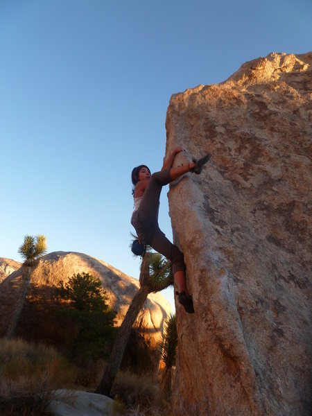 Coming to the crux move on Morning Glory.<br> <br> (Jackie Trejo)