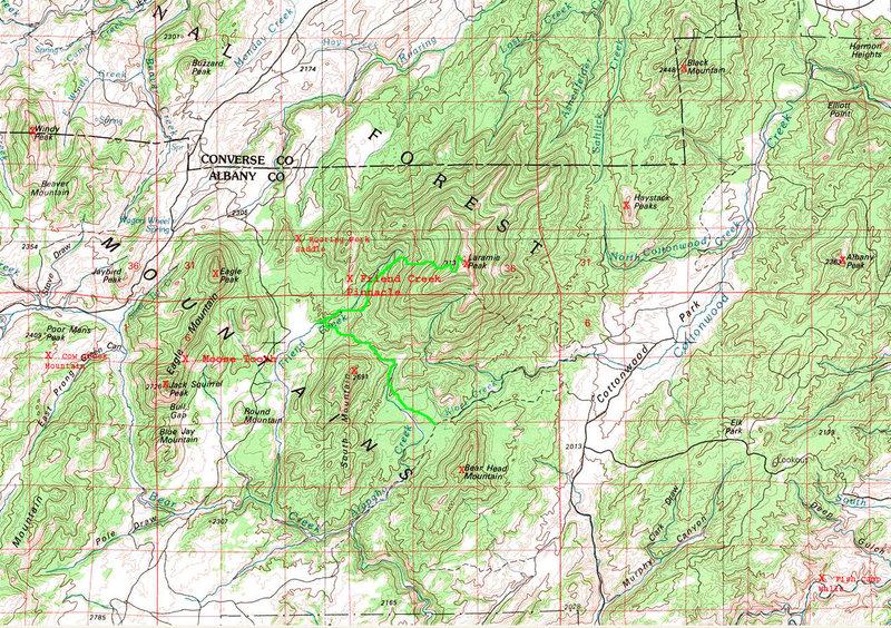 Rock Climbing Photo: Map of the Laramie Peak Region