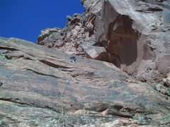 Rock Climbing Photo: At the first pitch anchor.  The crux is the roofs ...