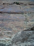 Rock Climbing Photo: Jess at the anchor joining MCD.  MCD crack is to t...