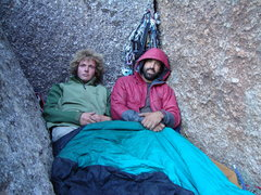 Rock Climbing Photo: waking at the two boulder bivy