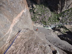 Rock Climbing Photo: Easy pitch before crux of Astro Dog