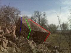 Rock Climbing Photo: Blue - AKA V1 Green - SDS Project, V1 very high st...
