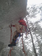 Rock Climbing Photo: Ian, On the FA of the True Great Roof A2+