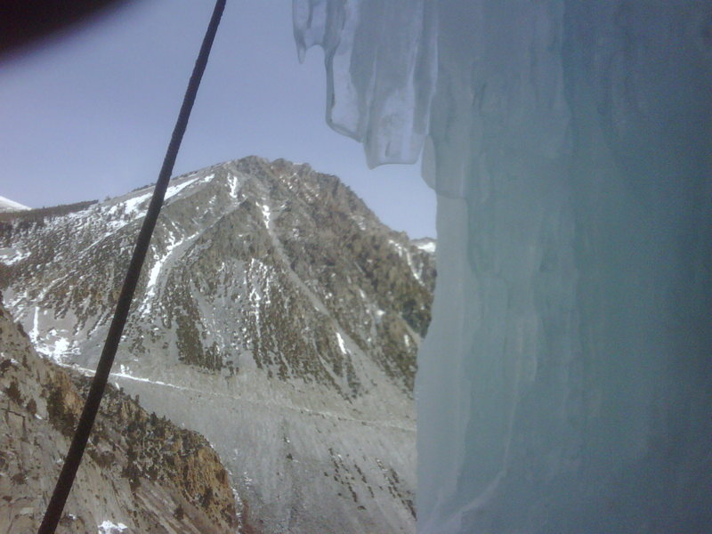 View of Tioga Pass from freak of nature ice cave, Chouinard Wall