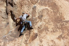 Rock Climbing Photo: Al Sanderson at the crux of El Chivo.