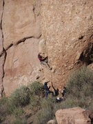"""Rock Climbing Photo: Fighting with the crux moves of """"Western Omel..."""