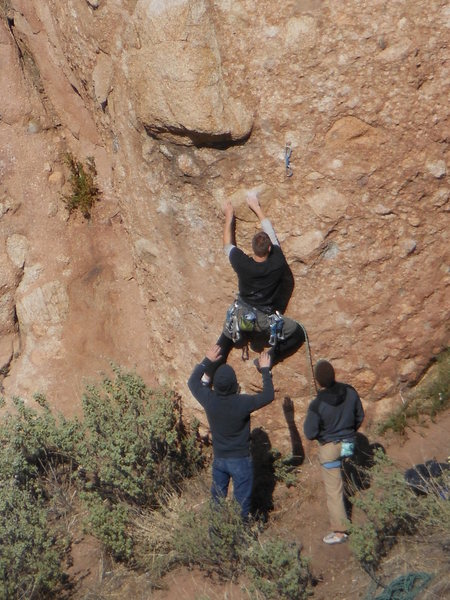 """Rock Climbing Photo: Grabbing the rail is but half the battle on """"..."""