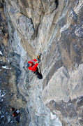 Rock Climbing Photo: Nate Erickson at the crux of Turkey Chute. Feb 201...