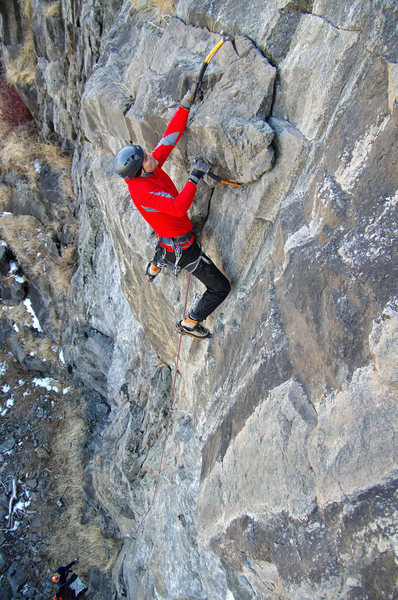 Rock Climbing Photo: Nate Erickson on Turkey Chute. Not over 'til it's ...