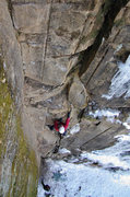 Rock Climbing Photo: Climbing the ledgy Quick Silver. Dave Rone, Feb 20...