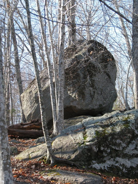 Rock Climbing Photo: The back side of the Escoheag Boulder. Underneath ...