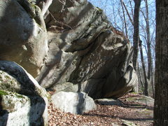 Rock Climbing Photo: The overhangs. Small craglet of steep jugs and som...
