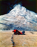 Looking down at the Bivy on the bolts between the Groove and the Triple cracks.  The Groove is visible below ond right of the Bivy. Shot is from half way up the first Triple Crack. June 1980