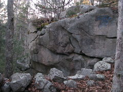 Rock Climbing Photo: Labeled and everything! Side view of The Pussy Bou...