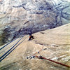 Looking down from the Belay at the top of the Triple Cracks. June 1980