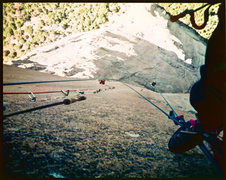 Belay from the top of the Pitch above the Triple Cracks. June 1980