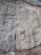 Rock Climbing Photo: 'Changement de Look' (dots do not represent bolts)