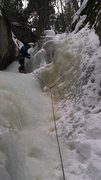Rock Climbing Photo: First ice lead...nice & easy. You can practically ...