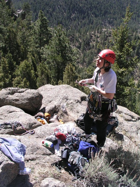 Rock Climbing Photo: Smok'in Bob tells Andrea she climbs pretty good fo...