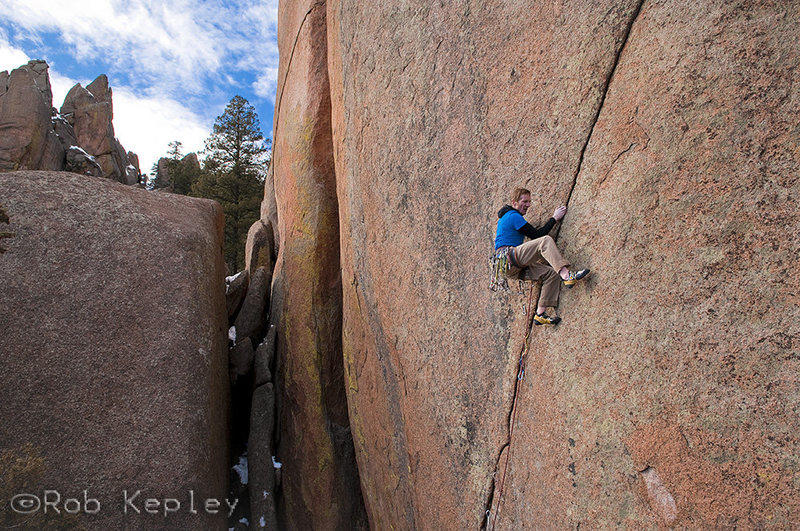 Rock Climbing Photo: Cody Scarpella onsighting Brothers in Arms.