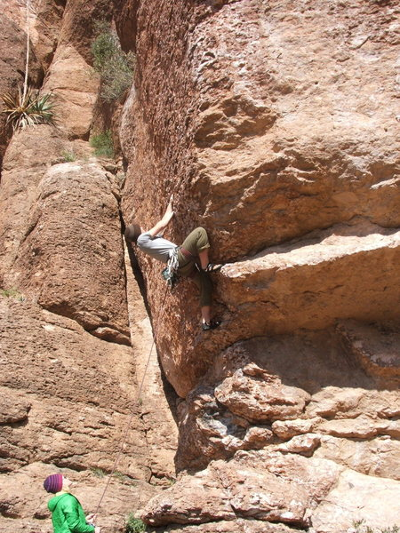 Caleb on Pocket Puzzler 5.10a